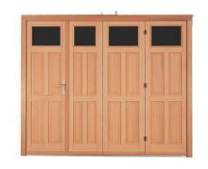 Porte de garage bois accord on style dauphinois pour particulier pga32pppb - Porte de garage accordeon ...